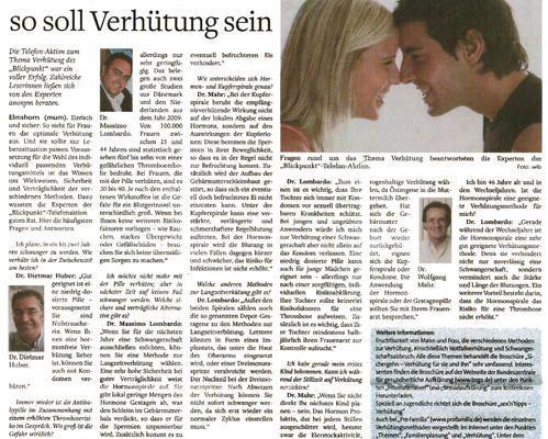Diverse Zeitungen - Einfach und sicher - so soll Verhütung sein
