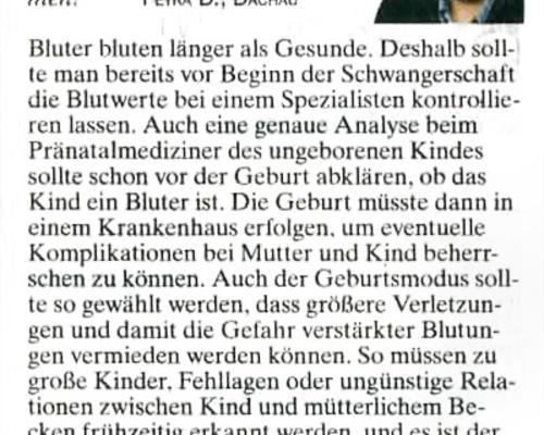 TZ-München - Baby als Bluterin